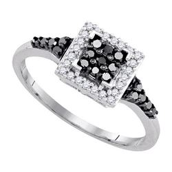 925 Sterling Silver White 0.30CTW DIAMOND FASHION RING