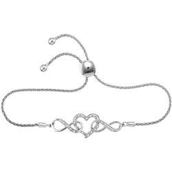 Sterling Silver Womens Round Diamond Infinity Heart Bol