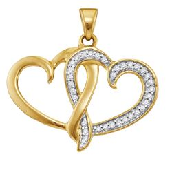 10kt Yellow Gold Womens Round Diamond Double Joined Hea