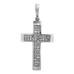 925 Sterling Silver White 0.15CTW DIAMOND CROSS PENDANT