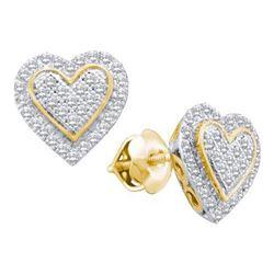 10KT Yellow Gold 0.25CTW DIAMOND HEART EARRING