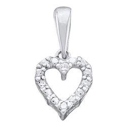 14KT White Gold 0.01CTW DIAMOND HEART PENDANT