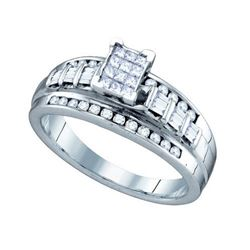925 Sterling Silver White 0.50CTW DIAMOND LADIES INVISI