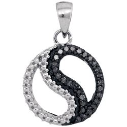 10KT White Gold 0.10CTW BLACK DIAMOND FASHION PENDANT