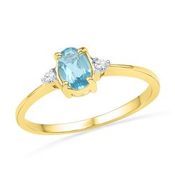 10kt Yellow Gold Womens Oval Lab-Created Blue Topaz Sol