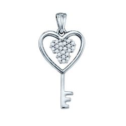 10KT White Gold 0.07CTW DIAMOND KEY PENDANT