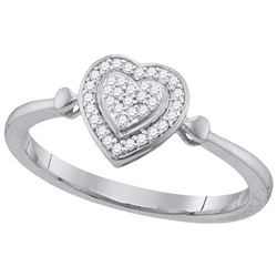 10kt White Gold Womens Round Natural Diamond Heart Love