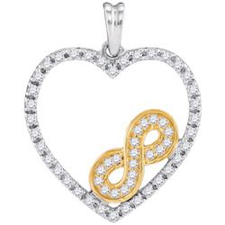 10KT White Gold Two Tone 0.27CTW- HEART PENDANT