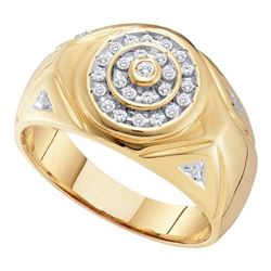 10K Yellow-gold 0.25CTW DIAMOND CLUSTER MENS RING