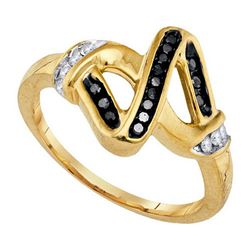 925 Sterling Silver Yellow 0.21CTW DIAMOND FASHION RING