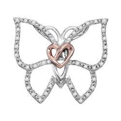 Sterling Silver Womens Round Diamond Butterfly Bug Hear