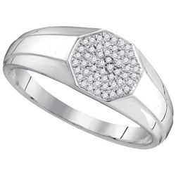 10KT White Gold 0.15CTW DIAMOND MICRO-PAVE RING
