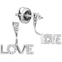Womens 10K White Gold Love Heart Real Diamond Ear Jacke
