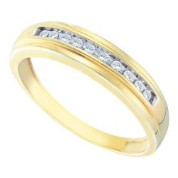 10K Yellow-gold 0.12CT DIAMOND CLUSTER MENS BAND