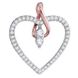 14kt White Gold Womens Round Diamond 2-stone Heart Pend