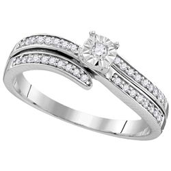 Sterling Silver Womens Round Diamond Solitaire Bridal W