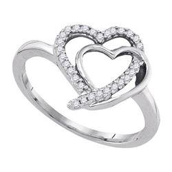 925 Sterling Silver White 0.15CTW DIAMOND FASHION RING