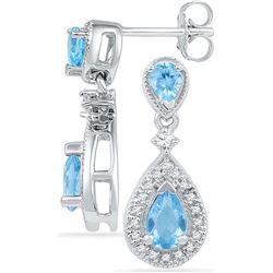 10k White Gold Womens Teardrop Diamond Lab Blue Topaz D