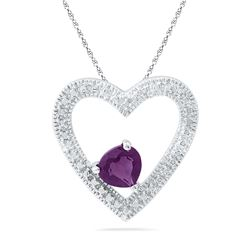 Sterling Silver Womens Round Lab-Created Amethyst Solit