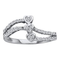 14KT White Gold 0.25CTW ROUND DIAMOND HEART LADIES CLUS