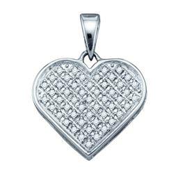 925 Sterling Silver White 0.15CTW DIAMOND HEART PENDANT