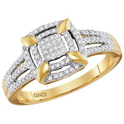 10kt Yellow Gold Womens Round Diamond Square Frame Clus