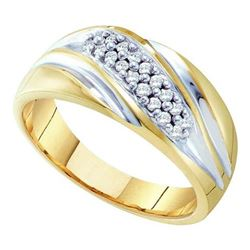 10KT Yellow Gold Two Tone 0.25CTW DIAMOND MENS FASHION