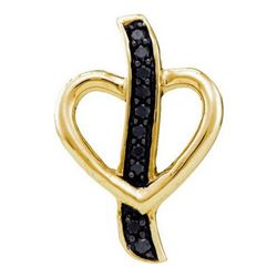 925 Sterling Silver Yellow 0.10CTW DIAMOND HEART PENDAN