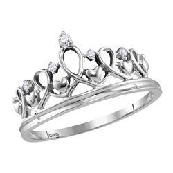 Sterling Silver Womens Round Diamond Tiara Crown Prince