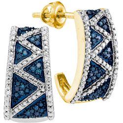 Womens 10K Yellow Gold Enhanced Colored Blue Diamond Ha