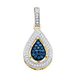 10K Yellow-gold 0.21CTW BLUE DIAMOND FASHION PENDANT