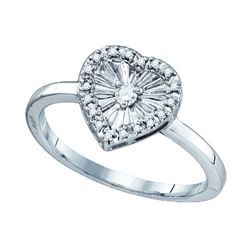 925 Sterling Silver White 0.10CTW DIAMOND HEART RING