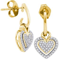 10K Yellow-gold 0.20CTW DIAMOND MICRO-PAVE EARRING