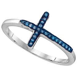 Sterling Silver Womens Round Blue Colored Diamond Chris