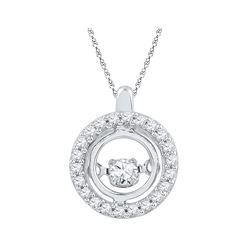 10kt White Gold Womens Round Natural Diamond Circle Mov