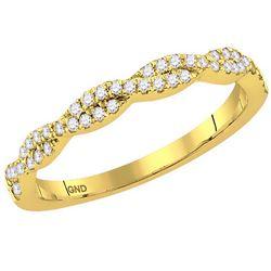 10kt Yellow Gold Womens Round Diamond Interwoven Stacka