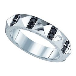 10KT White Gold 0.45CT BLACK DIAMOND FASHION RING