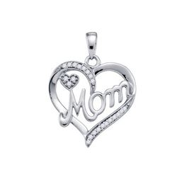 925 Sterling Silver White 0.13CT DIAMOND MOM PENDANT