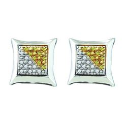 925 Sterling Silver Yellow 0.12CTW DIAMOND MICRO PAVE E