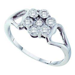 925 Sterling Silver White 0.10CTW DIAMOND FLOWER RING