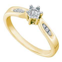 925 Sterling Silver Yellow 0.06CTW DIAMOND ROUND CENTER