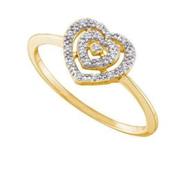 10KT Yellow Gold 0.04CTW DIAMOND HEART RING