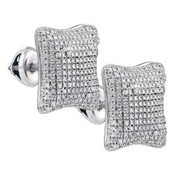 Sterling Silver Mens Round Diamond Puffed Square Cluste