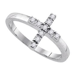 925 Sterling Silver White 0.13CT DIAMOND CROSS RING