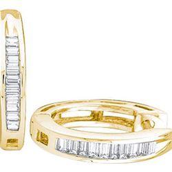 925 Sterling Silver Yellow 0.15CTW DIAMOND FASHION HOOP