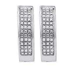 925 Sterling Silver White 0.10CT DIAMOND MICRO PAVE HOO