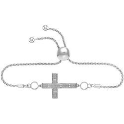 Sterling Silver Womens Round Natural Diamond Cross Fait