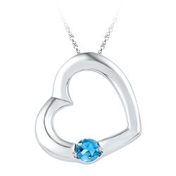 Sterling Silver Womens Round Lab-Created Blue Topaz Hea