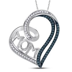Sterling Silver Womens Round Color Enhanced Blue Diamon