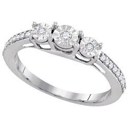 925 Sterling Silver White 0.17CTW DIAMOND FASHION RING